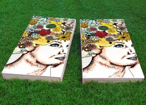 Lady with Flowers in Hair Cornhole Game (Set of 2) by Custom Cornhole Boards