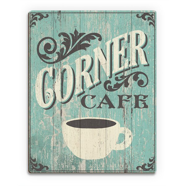 Wood Slats Corner Cafe Graphic Art on Plaque by Click Wall Art