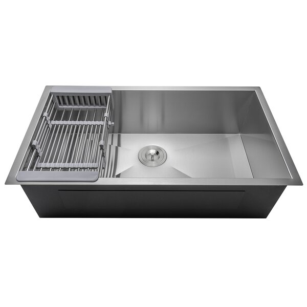 32 x 18 Undermount Stainless Steel Single Bowl Kitchen Sink w/ Adjustable Tray and Drain Strainer Kit by AKDY