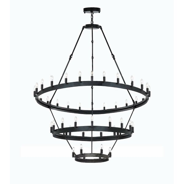 Shotwell 36 - Light Unique / Statement Wagon Wheel Chandelier with Wrought Iron Accents by Canora Grey Canora Grey