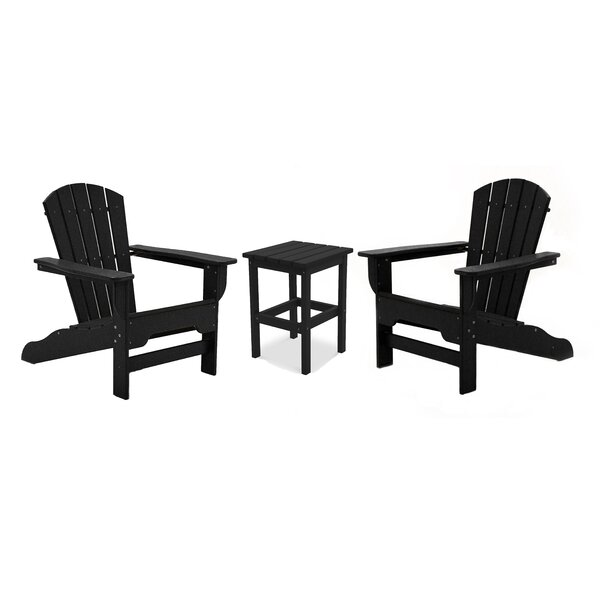Strickland Plastic/Resin Adirondack Chairs with Table (Set of 2) by Breakwater Bay Breakwater Bay