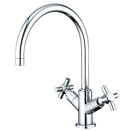 South Beach Double Cross Handle Kitchen Faucet with Plate by Elements of Design