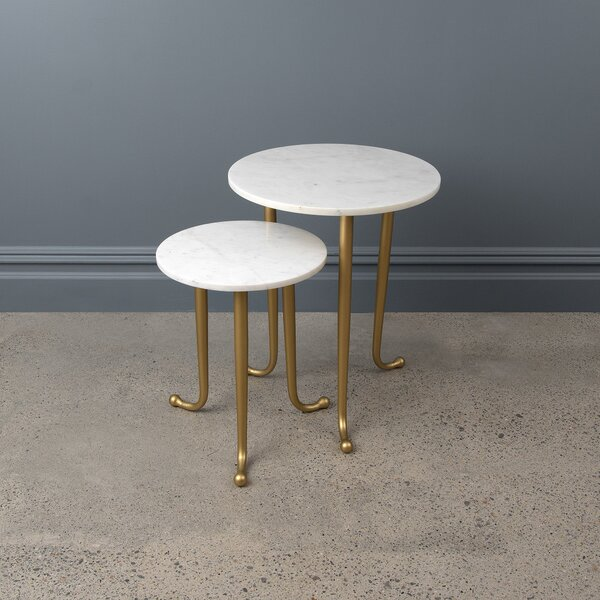Avenlee Marble Top 3 Legs Nesting Tables By Mercer41