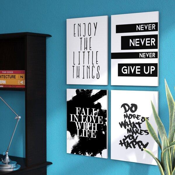 Inspirational Textual Art On Wood (Set of 4) by Zipcode Design