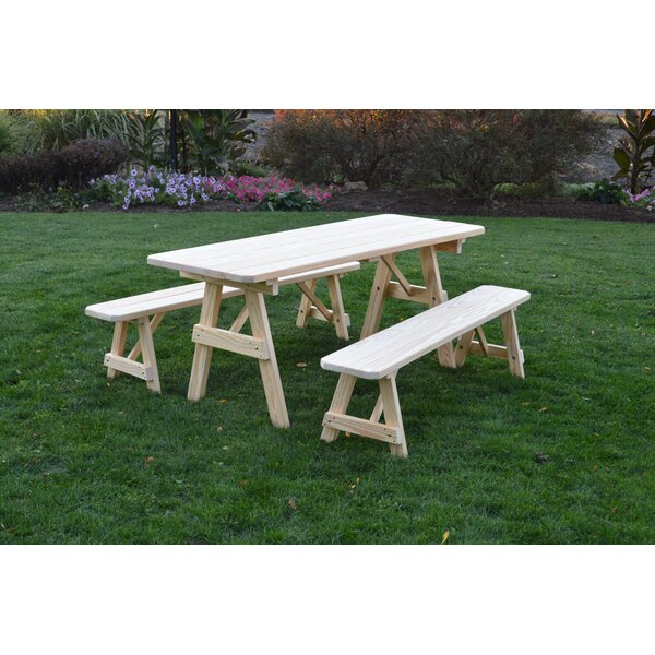 Roseboom Pine Traditional Picnic Table with 2 Benches by Loon Peak