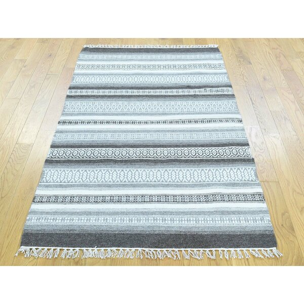 One-of-a-Kind Bednar Striped Reversible Handmade Kilim Wool Area Rug by Isabelline