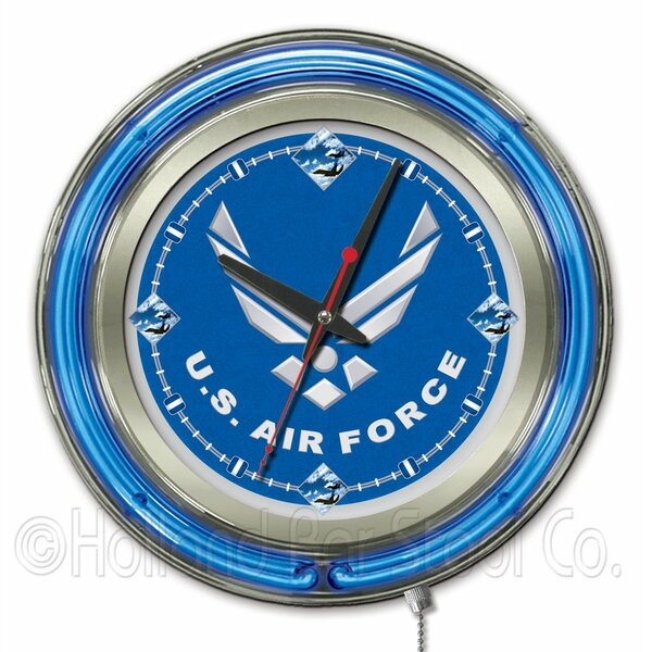 US Armed Forces 15 Double Neon Ring Logo Wall Clock by Holland Bar Stool