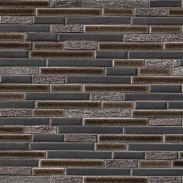 Titan Interlocking Pattern Random Sized Porcelain/Stone Tile in Black by MSI