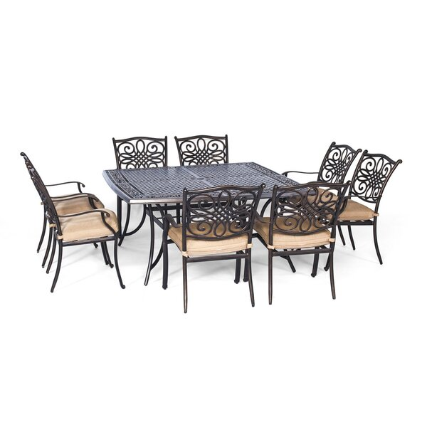 Lauritsen 9 Piece Dining Set with Foam Cushion by Three Posts