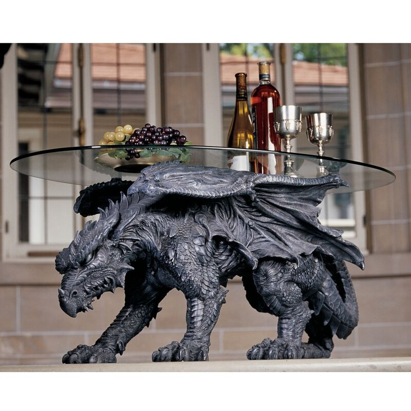 design toscano warwickshire dragon coffee table with glass top