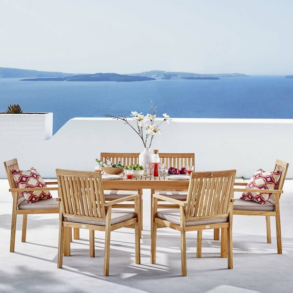 Koa Outdoor Patio 7 Piece Teak Dining Set with Cushions by Rosecliff Heights
