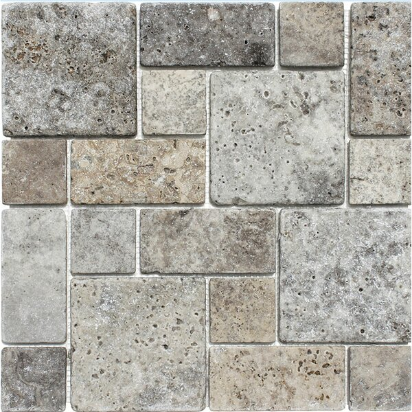 Roman Pattern Tumbled Random Sized Stone Mosaic Tile in Silver by Parvatile