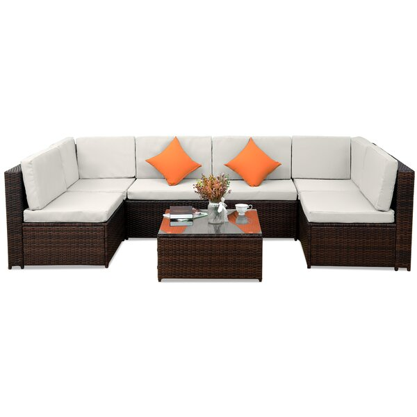 Infinity 7 Piece Rattan Sectional Seating Group with Cushions by Latitude Run