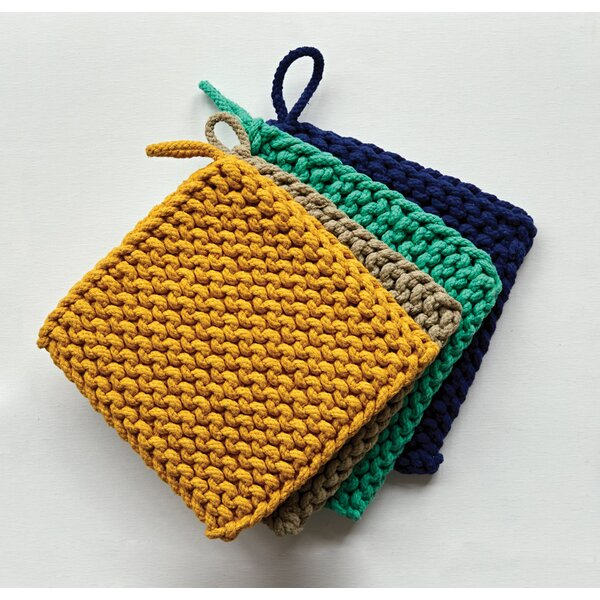 Square Cotton Crocheted Potholder by Creative Co-Op