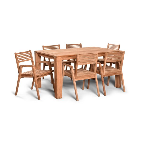 Hoff 7 Piece Teak Dining Set by Rosecliff Heights