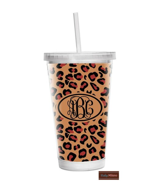 Leopard 16 oz. Plastic Travel Tumbler by Baby Milano