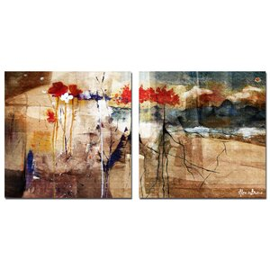 Oversized 'Floral' Abstract 2 Piece Painting Print on Canvas Set by Ready2hangart