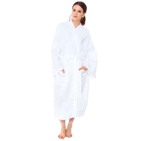 Premium Turkish Cotton Waffle Weave Lightweight Kimono Spa Bathrobe for Women