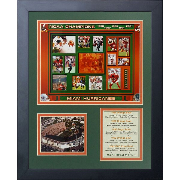 Miami Hurricanes Five Time Champs Framed Memorabilia by Legends Never Die