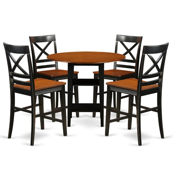 Modern Tyshawn Counter Height 5 Piece Pub Table Set By Charlton Home 2019 Sale