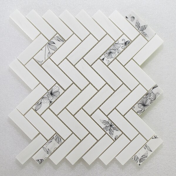 Soft Touch Herringbone 1 x 3 Marble Mosaic Tile in White by Seven Seas