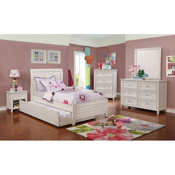 Hilltop White Twin Bed With Night Stand Dresser And Mirror Set by Harriet Bee