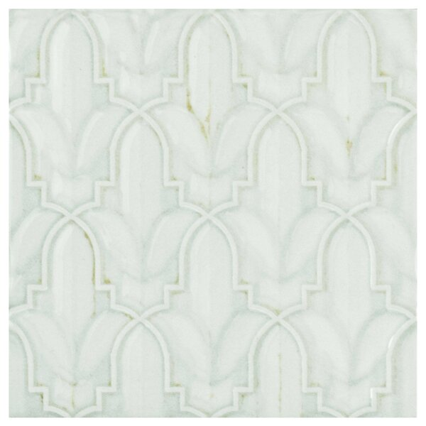 Countryside Lis Décor 5.88 x 5.88 Ceramic Field Tile in White/Gray by EliteTile