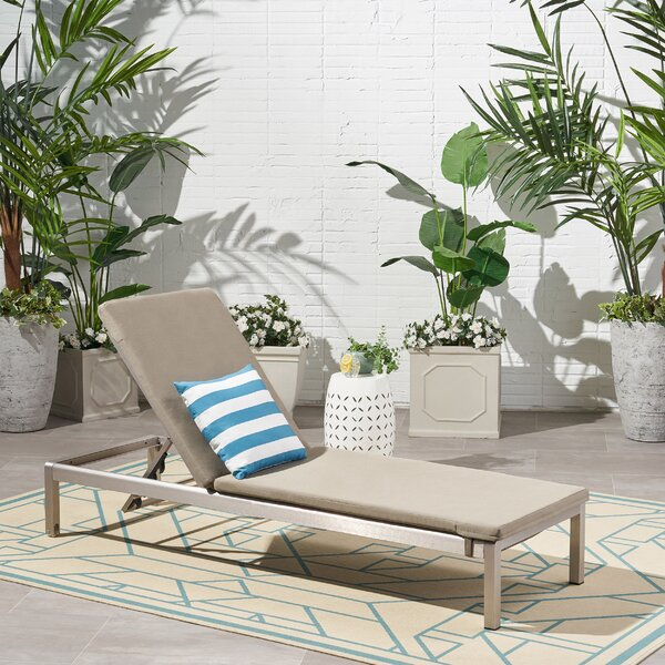 Darcy Outdoor Reclining Chaise Lounge With Cushion by Orren Ellis Orren Ellis