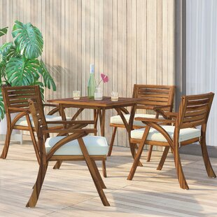 Ajax 5 Piece Teak Dining Set With Cushions