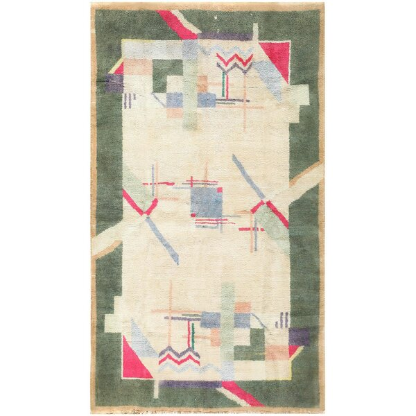 One-of-a-Kind Indian Hand-Knotted Green 4'1 x 6'10 Cotton Area Rug