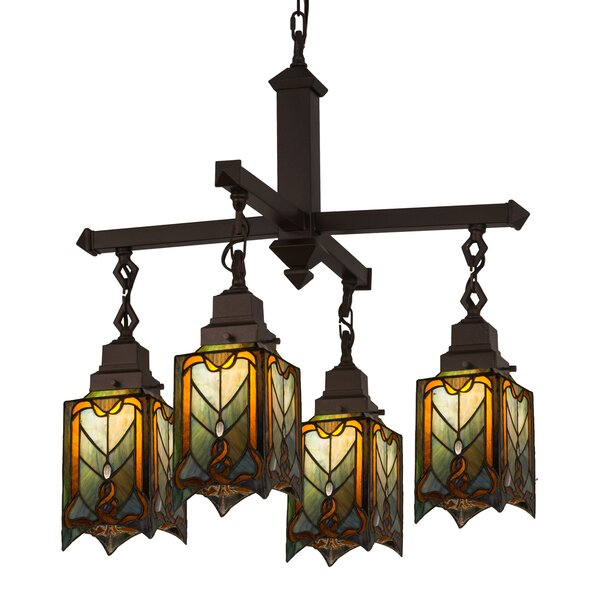 Cottage Mission 4-Light Shaded Rectangle / Square Chandelier By Meyda Tiffany