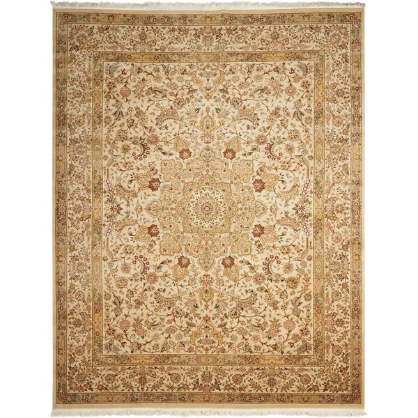 Pickrell Hand-Knotted Wool Beige Area Rug