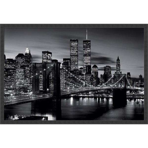 Brooklyn Bridge - Black and White Framed Photographic Print by Latitude Run