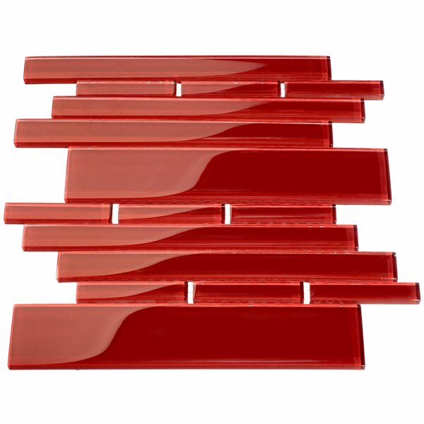 Club Random Sized Glass Mosaic Tile in Ruby Red by Giorbello