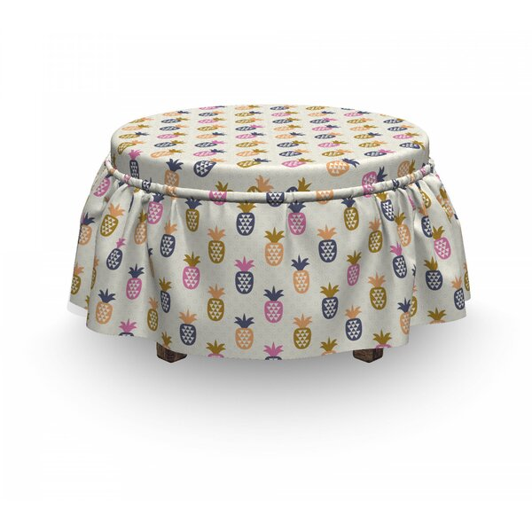 Pineapples With Polka Dots Ottoman Slipcover (Set Of 2) By East Urban Home