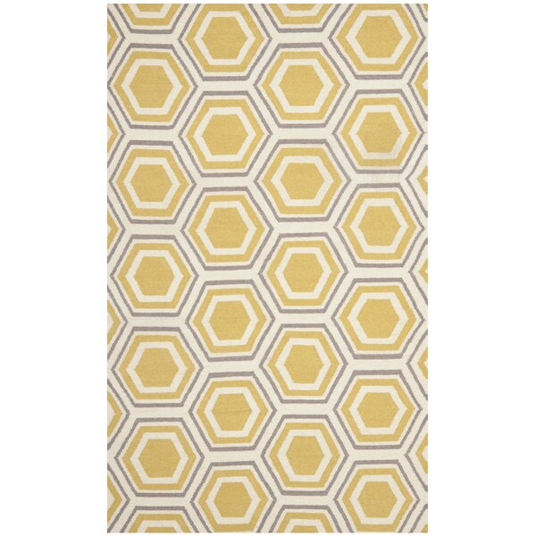 Cassiopeia Hand Woven Ivory/Yellow Area Rug by Mercury Row