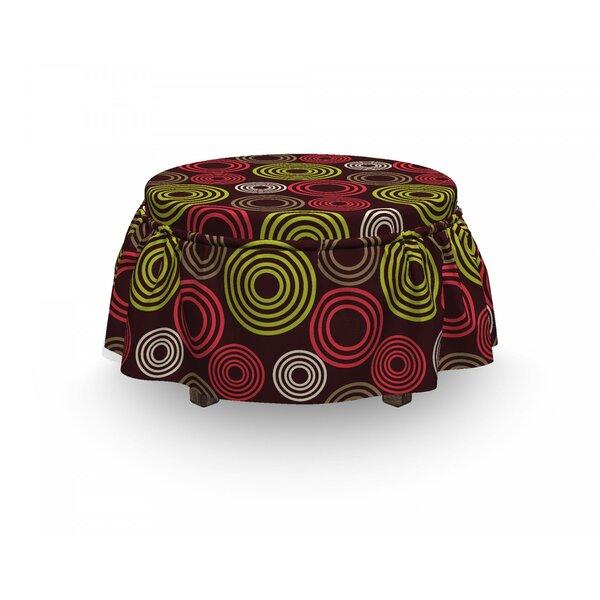 Geometric Funky Vortex Lines 2 Piece Box Cushion Ottoman Slipcover Set By East Urban Home