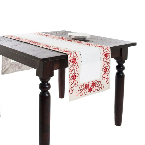 Francine Embroidered and Cutwork Table Runner by Saro