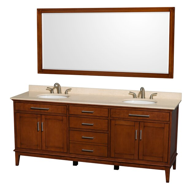 Hatton 80 Double Light Chestnut Bathroom Vanity Set with Mirror by Wyndham Collection