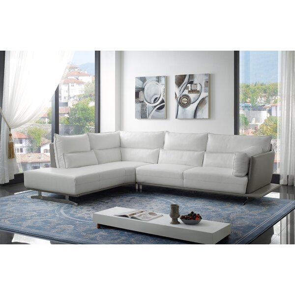 Cotswold Leather Sectional by Orren Ellis