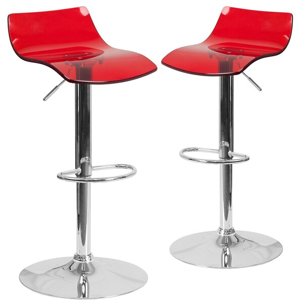 Nolette Adjustable Height Swivel Bar Stool (Set of 2) by Orren Ellis