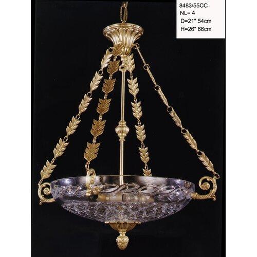 Schalen Pendelleuchte 4 flammig Desjardins Astoria Grand Beschichtung: Antikes| französisches Gold