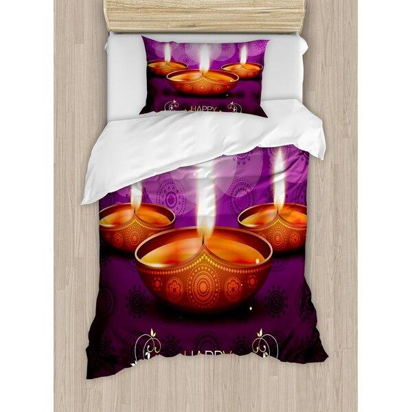 Diwali Indian Celebration Religious Candle Burning Image and Paisley Backdrop Print Duvet Set by Ambesonne