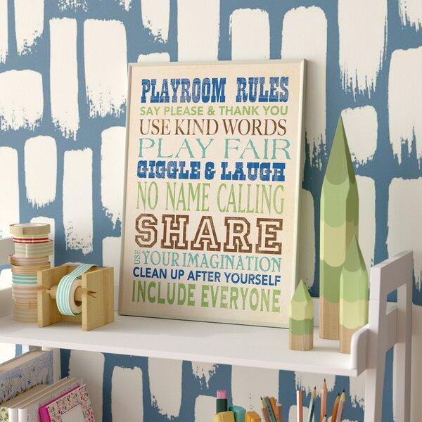Stella Blues Playroom Rules Typography Wall Plaque by Viv + Rae
