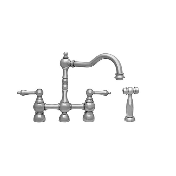 Englishhaus Double Handle Deck Mounted Kitchen Faucet with Side Spray by Whitehaus Collection