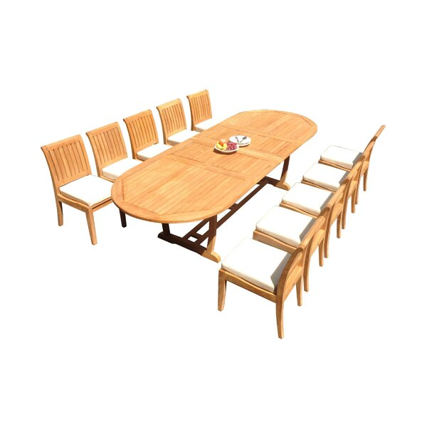 Sonoma 11 Piece Teak Dining Set by Rosecliff Heights