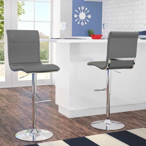 Justine Adjustable Height Swivel Bar Stool by Latitude Run