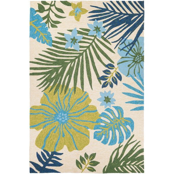 Amberjack Summer Laelia Hand-Woven Ivory/Fern Indoor/Outdoor Area Rug by Bay Isle Home