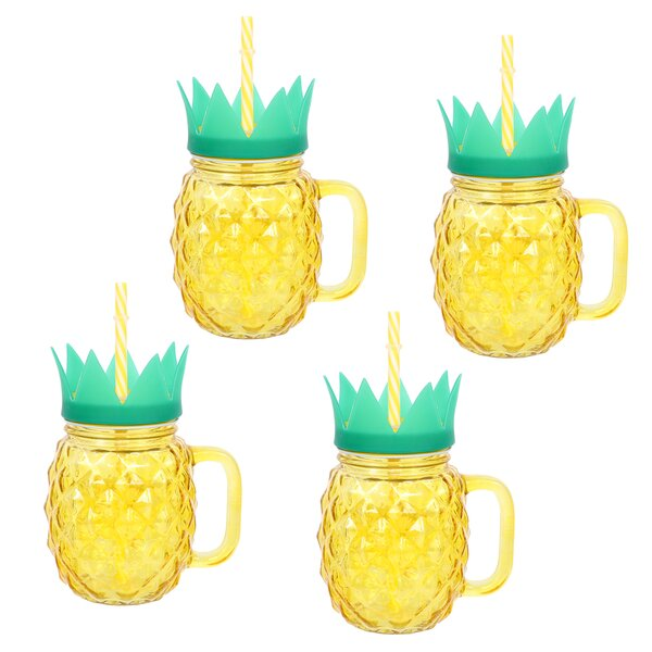 Holton Pineapple 17 oz. Glass Travel Tumbler (Set of 4) by Bay Isle Home