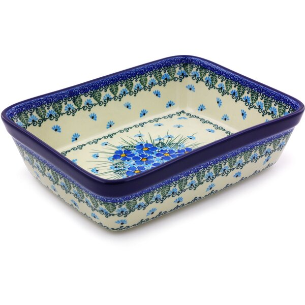 Forget Me Not Rectangular Polish Pottery Baking Dish by Polmedia
